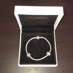 PANDORA Silver Charm Bracelet with 2 Spacer Clasps